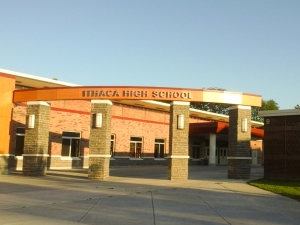 The exterior of Ithaca High School on Monday, September 8.