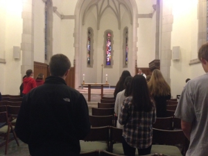 The Cornell Catholic Community worships during their Wednesday night mass Oct. 29.