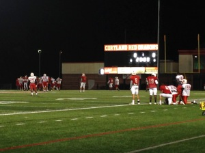 SUNY Cortland's football team practices before Saturday's game.